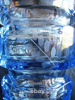 10 Bohemian HAND-ENGRAVED FACETED BLUE CUT-GLASS LEAD FREE CRYSTAL VASE MOSER