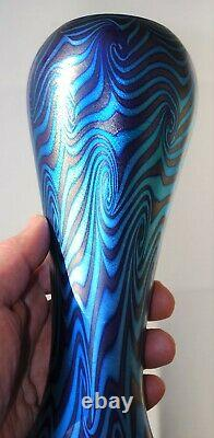 10 DURAND Glass King Tut Pattern Blue and Purple Vase