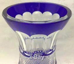 11 COBALT Blue Bohemian Czech CUT TO CLEAR Glass Crystal Vase BigHeavyCross