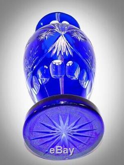 13 3/4! Vintage Czech Bohemian Cobalt Blue Cut to Clear Crystal Cut Glass Vase