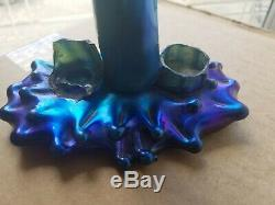 13'' ANTIQUE STEUBEN BLUE AURENE TREE THORN GLASS VASE as is