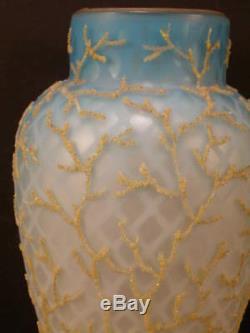 1880's Mt. Washington MOP Coralene Satin Seaweed Beaded Blue Uranium Glass Vase