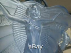 1935 Walther & Sohne Blue Schmetterling Glass Vase Art Deco Lady Butterfly Vase