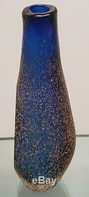 1970's Italian Murano Mandruzatto Sommerso Cobalt/Clear Glass Textured Vase