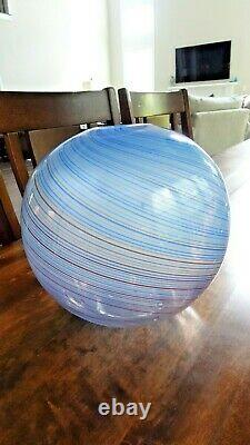 1970's VENINI Italian Art Glass Lattimo Mezza Filigrana Designed Scarpa VASE