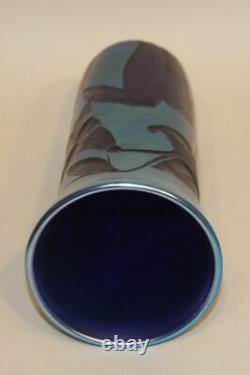 1982 Lubomir Richter Orient & Flume Art Glass 12 Inch Blue Floral Etched Vase