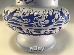 1988 Kelsey Murphy Pilgrim Cameo Glass Vase Cobalt Blue & White Musicians Signed