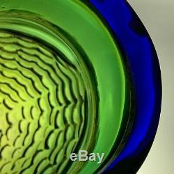 1994 Blenko Art Glass Fish Hank Adams No. 9245L large -16 color Olive/Cobalt