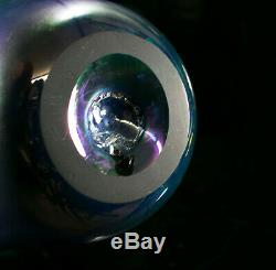 1995 Pulled Feather Iridescent Blue Cobalt Art Glass Vase