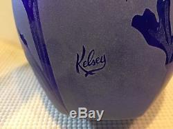 1996 Kelsey Murphy's Pilgrim Art Glass Cobalt Blue IRIS Vase 8 1/2 Signed