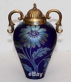 1997 Fenton Favrene Connoisseur blue 11 Daisy Vase 8807 22K gold NO RESERVE