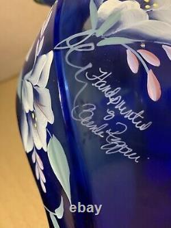 1998 Fenton 75th anniversary cobalt vase Hand painted & signed