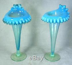 2 Antique Blue Opalescent & Vaseline Glass Jack in the Pulpit JIP Flower Vases