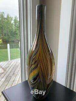 2 MID CENTURY MODERN ART GLASS SWIRLS LARGE VASES -Cased Glass