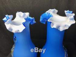 2 Small Blue Pretty Hand Blown Art Glass Floral Vases In The Murano Style