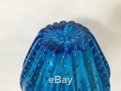 2 Vintage Murano Galliano Ferro Art Glass Aqua Blue Table Lamp Vases, 8 1/2 T