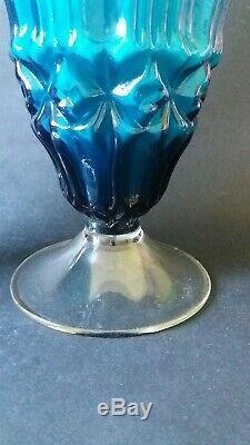 2 xVintage Empoli Cased Vase blue Textured Italian Art Glass 60s 70s Mid Century