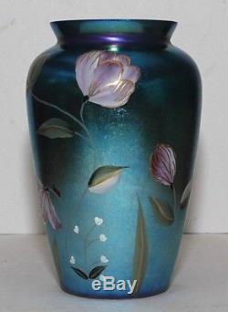 2001 Fenton Felicity Favrene Connoisseur 9 blue vase 7598 YK by Kim Plauche