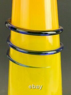 2018 Mid Century Modern Blenko Art Glass Paw Paw & Cobalt Blue Ring Vase Sticker