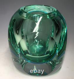 20th C. Murano Flavio Poli Seguso Sommerso Blue Green Italian Art Glass Vase