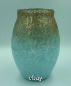 5 Vintage Scottish Monart Art Glass Vase Sky Blue & Gold