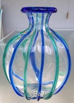 8.75 Archimede Seguso Murano Blue Green Signed Art Glass Vase Italy Italian