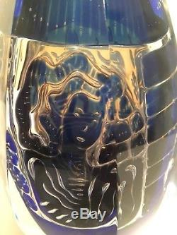 8 Edvin Ohrstrom Cobalt Blue Art Glass Vase for Orrefors Ariel The Gondolier