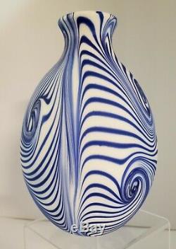9 inch Fenton Blue Satin Labyrinth Vase signed Dave Fetty