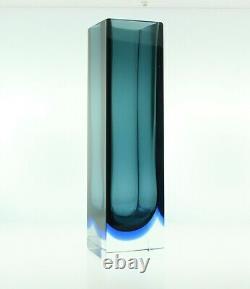 970's Square Blue Summerso Murano Glass Vase By Alessandro Mandruzzato, 10 Inche