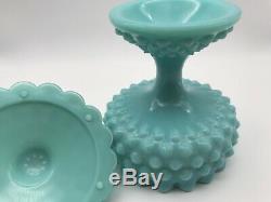 A120ce VTG Fenton Glass Turquoise Blue Hobnail Candy Dish Ruffled Edge Pedestal