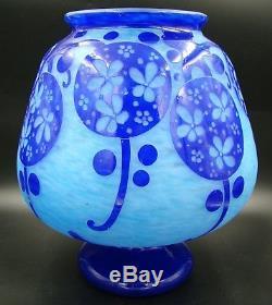 ART DECO French Azurette Cameo Glass HUGE Vase Signed by Le Verre Francais RARE