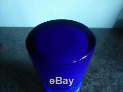Alsterfors / Per Strom Blue Hooped Cased Glass Vase Signed