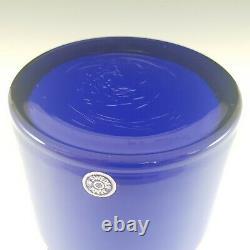 Alsterfors #S5014 Blue Glass Hooped Vase Signed'P. Strom 69