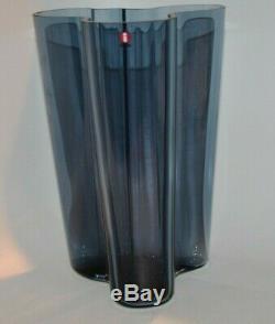 Alvar Aalto Iittala Finland Rain Blue Glass Savoy Vase 9.75 H x 6.5 D VGC! NEW