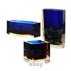 Amazing Pavel Hlava Egerman-Exbor Art Glass Submerged Multi Purpose Block Vase