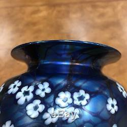 American Art Glass Vase Orient & Flume Blue Iridescent Hawthorne 9 Signed