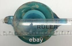 Ancient Roman 4 Blown Glass Blue-Green Vessel Pot Vase or Bottle (RF-fr10)