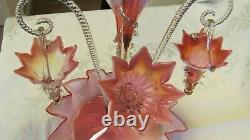 Antique 19th Century Stourbridge Victorian Glass Epergne Cranberry Opalescent