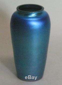 Antique American Blue Iridized Art Deco Glass Vase Unsigned c. 1920