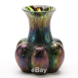 Antique Amethyst Swirl Blue Iridescent Art Nouveau Glass Vase, Signed