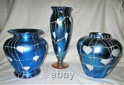 Antique Art Deco USA 12.5 Durand Blue Hearts Vines Art Glass Flower Vase Mint
