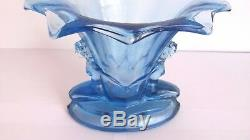 Antique, Art Deco Walther & Sohne Blue Glass Vase With Figures, Windsor Vase