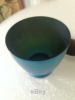 Antique Blue Aurene Art Glass Vase