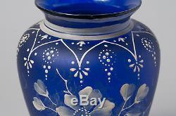Antique Blue Glass & Cameo Enamel Flower Design Vase Victorian c1880