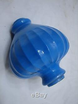 Antique Blue Milk Glass Pendant Vase Lightning Rod Ball Barn Ribbed Barn Finial