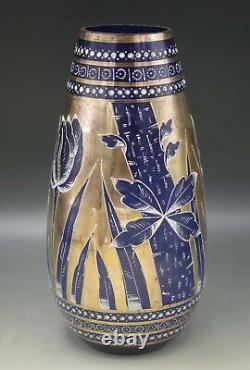 Antique Bohemia Glass Cobalt And Gold Overlay And Enamel Tulips Vase