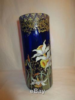 Antique Bohemian Blue Cobalt Enameled Moser Glass Vase Irises Daffodils