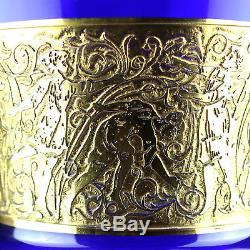 Antique Bohemian Moser Cobalt Blue Oroplastic Cut Glass Vase Acid Gold Art Deco