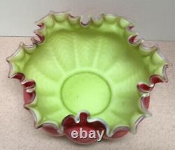 Antique CASED GLASS Herringbone Centerpiece Bowl MT WASHINGTON 10 1/2 X 5 1/2
