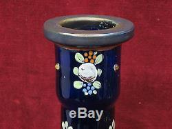 Antique Cobalt Blue Swirl Authentic Persian Hookah Glass Base /Vase